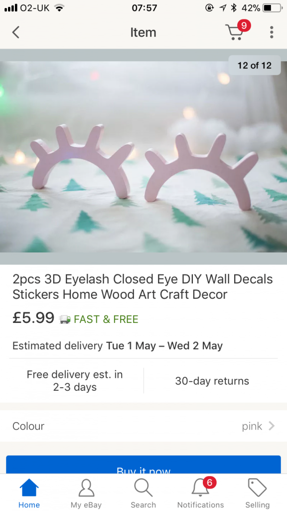 3D Eyelash closed eye stickers bought from Ebay for the girls pink bedroom