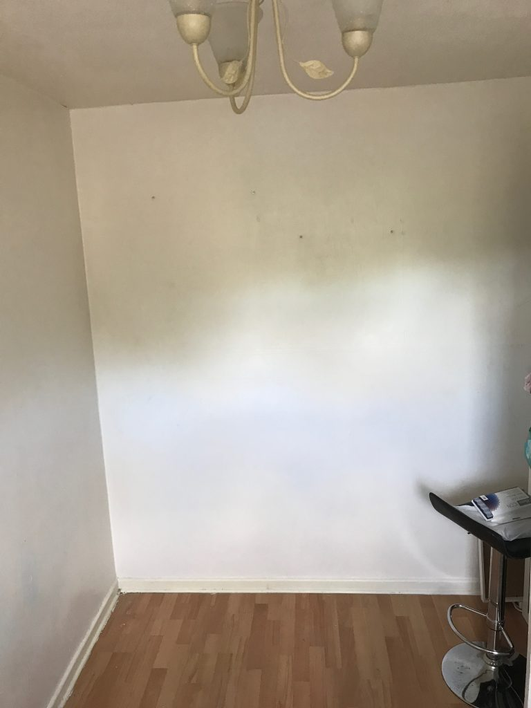 white wall before the painting getting ready to paint the girls bedroom