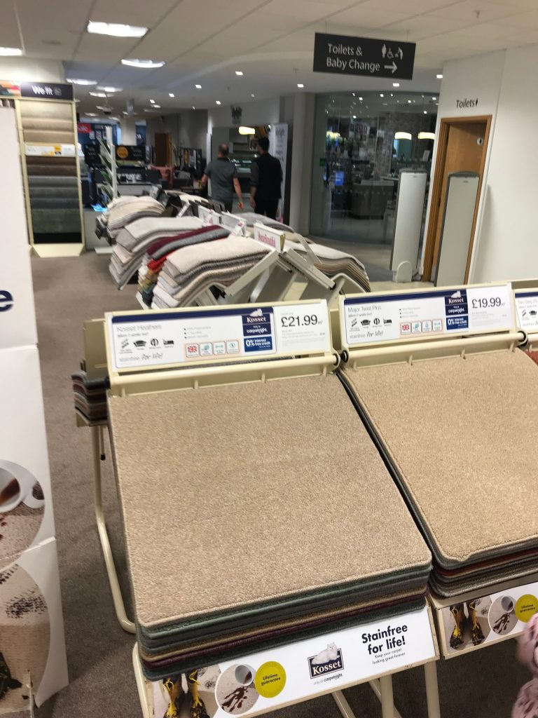 light beige carpet in Carpetwright suitable for little girls bedroom shopping in Enfield Pearsons