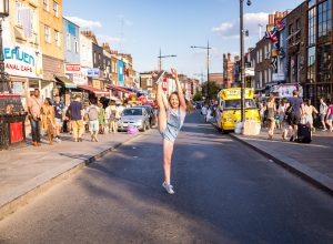 Gymnastics Dancing Photography standing on one food on the Camden High road London family children Photography