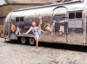 Photographs of Darcey's gymnastics performance around Camden in London